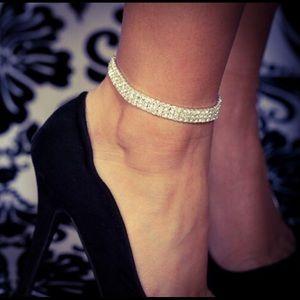 3 Row Rhinestone Ankle Tennis Bracelet